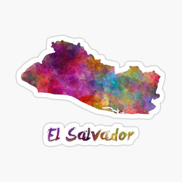 El Salvador en acuarela Pegatina