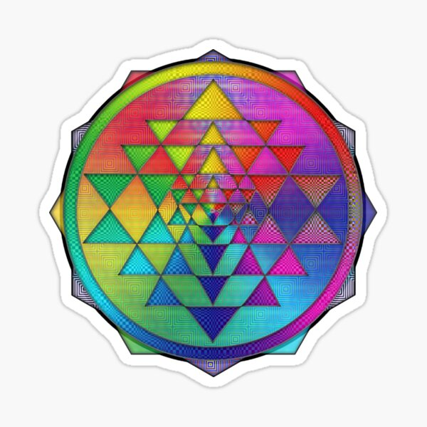 Super Psychedelic Rainbow Sri Yantra Sticker