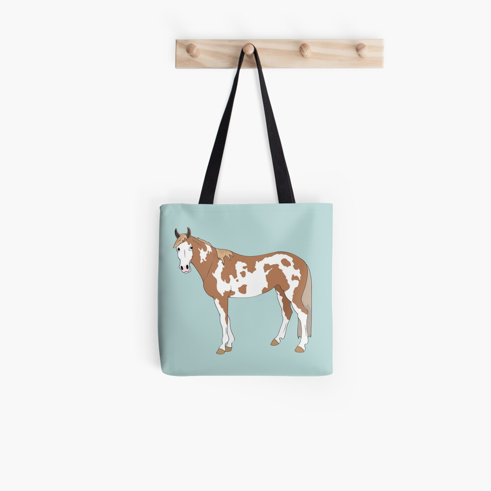 Cartoon of Tonto the paint gelding Tote Bag