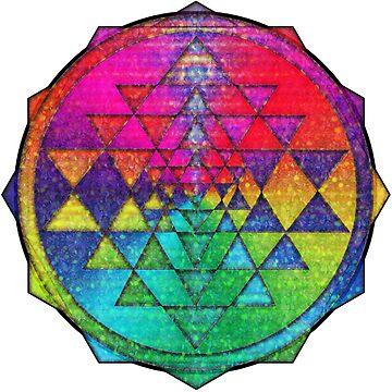 Psychedelic Rainbow Flowers Sri Yantra by shylolove