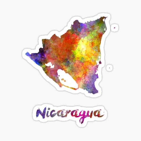 Nicaragua en acuarela Pegatina
