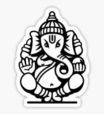 Ganesh Ganesa Ganapati 4 (black white) Sticker