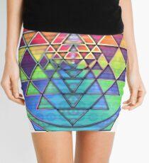 Psychedelic Rainbow Sri Yantra for Prosperity Mini Skirt