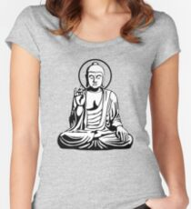 Young Buddha (black white) Women's Fitted Scoop T-Shirt