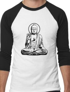 Young Buddha (black white) Men's Baseball ¾ T-Shirt