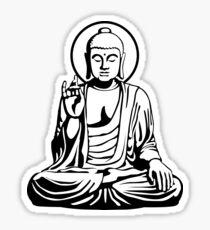 Pegatina Buda joven (blanco negro)
