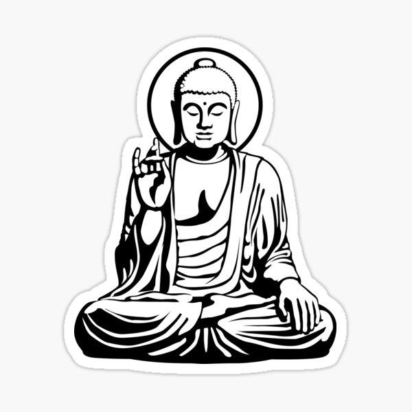 Young Buddha (black white) Sticker