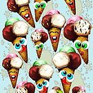 Ice Cream Cones Cartoon Pattern by BluedarkArt