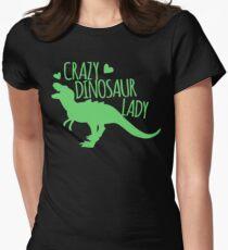 CRAZY dinosaur Lady in green T-Shirt