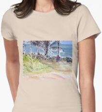 Artists by the Sea, Flying Fish Point  Womens Fitted T-Shirt