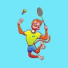 Red monkey playing badminton by Zoo-co