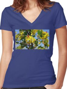 Yellow blooming Women's Fitted V-Neck T-Shirt