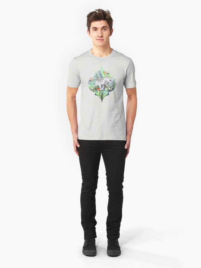 Alternate view of Little Elephant on a Jungle Adventure – faded vintage version Slim Fit T-Shirt