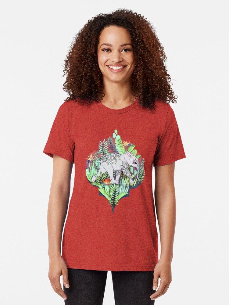 Alternate view of Little Elephant on a Jungle Adventure – faded vintage version Tri-blend T-Shirt