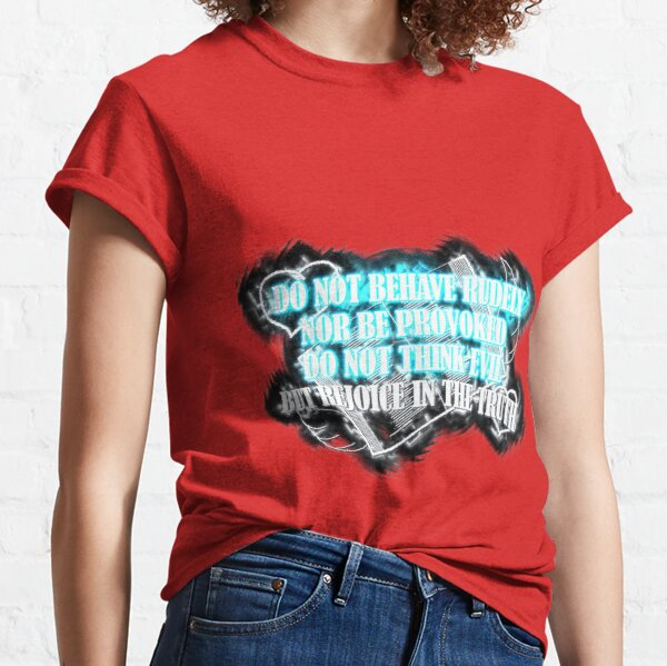 REJOICE IN THE TRUTH Neon Red Bunker Blue  Classic T-Shirt