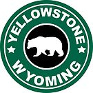 YELLOWSTONE NATIONAL PARK WYOMING BEAR ROUND GREEN ART by MyHandmadeSigns