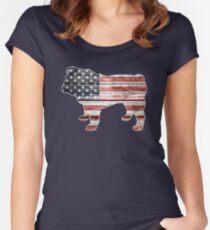 Patriotic Bulldog, American Flag Women's Fitted Scoop T-Shirt