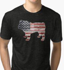 Patriotic Bulldog, American Flag Tri-blend T-Shirt