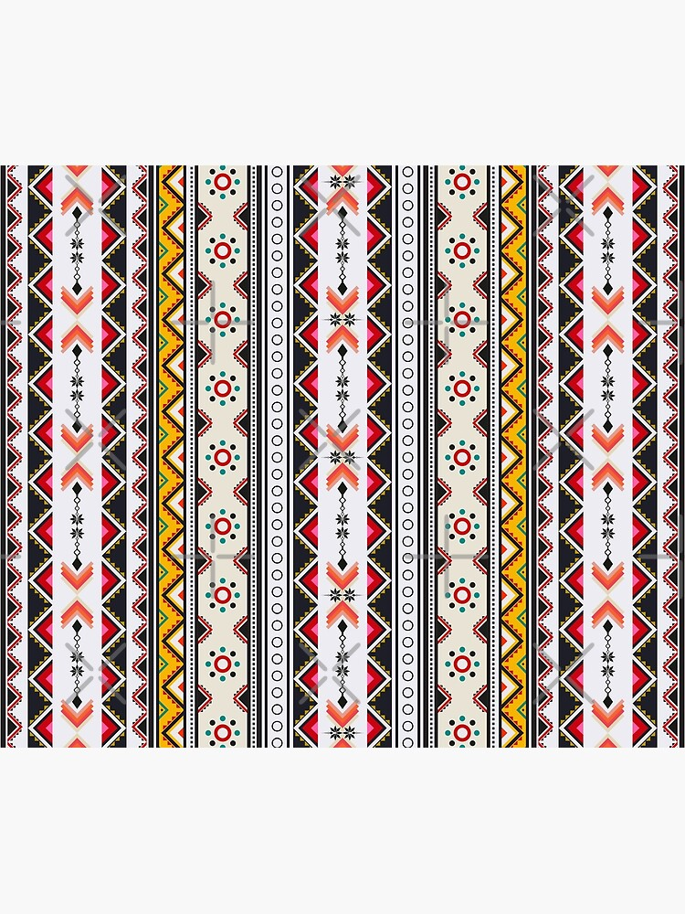 Colorful red vertical geometric triangle mix circle oriental with black floral  traditional Design for seamless fashion fabric pattern background by mydegage