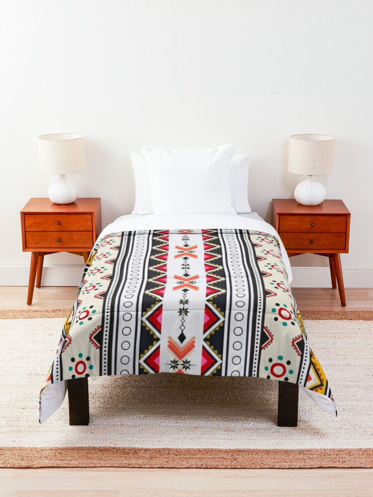Alternate view of Colorful red vertical geometric triangle mix circle oriental with black floral  traditional Design for seamless fashion fabric pattern background Comforter