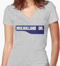 Mulholland Drive, Old-Style Street Sign, Los Angeles, California Women's Fitted V-Neck T-Shirt