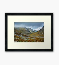 Mountains and clouds landscape Framed Print