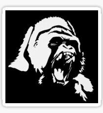 Gorilla White on Black Sticker