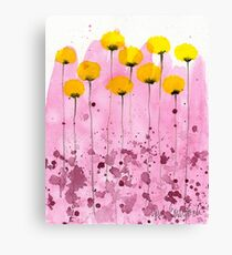 Pink Lemonade - Yellow Watercolor Flowers Canvas Print