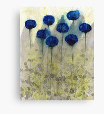 Foggy Day Flowers - Blue Grey Yellow Flowers Canvas Print