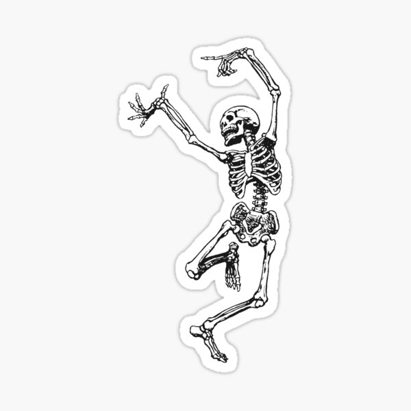 dancing skeleton having fun Sticker