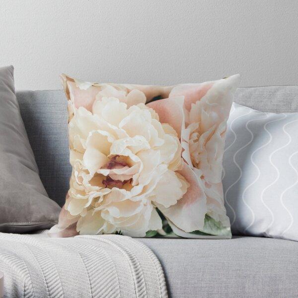 Pretty Pink Peony Flowers Throw Pillow