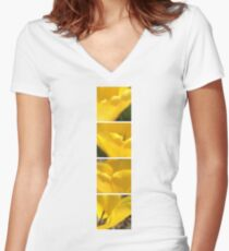 Macro Yellow Tulip Petals Collage Women's Fitted V-Neck T-Shirt