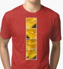 Macro Yellow Tulip Petals Collage Tri-blend T-Shirt
