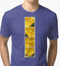 Macro Yellow Tulip Petals Collage Tri-blend T-Shirt