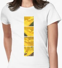 Macro Yellow Tulip Petals Collage Women's Fitted T-Shirt