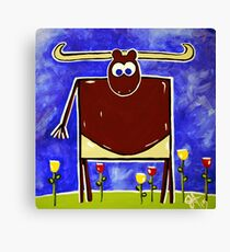 Just Bull Texas Longhorn Cattle Cow Beef Ranch Fun Happy Kids Room Rancher Canvas Print