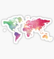 World Map - Rainbow Sticker