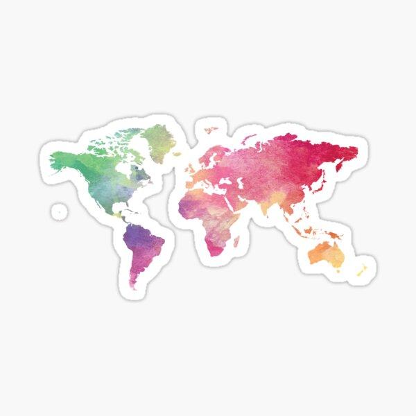 Weltkarte - Regenbogen Sticker