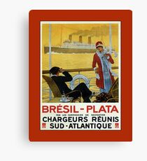 Vintage 1920s ocean liner cruises to Brazil Plata advert Canvas Print
