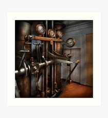 Steampunk - Controls - The Steamship control room Art Print
