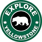 YELLOWSTONE NATIONAL PARK WYOMING BEAR EXPLORE ROUND GREEN by MyHandmadeSigns