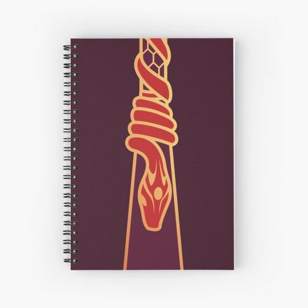 Design de serpent entourant une goutte d'eau - doré rouge Cahier à spirale