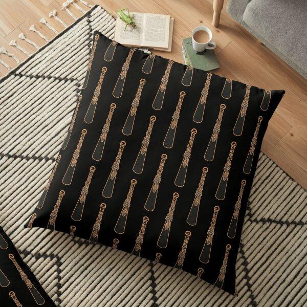 Design de serpent entourant une goutte d'eau - doré noir Coussin de sol
