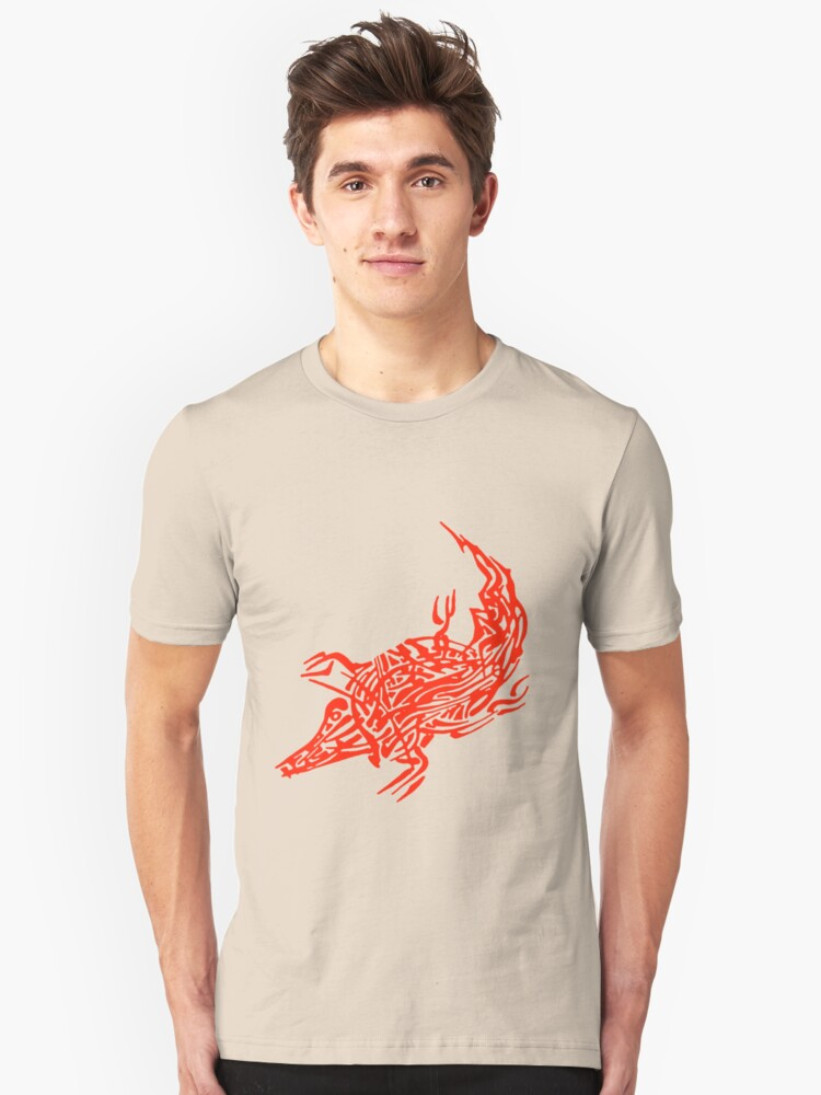 Abstract Red Crocodile Unisex T-Shirt Front