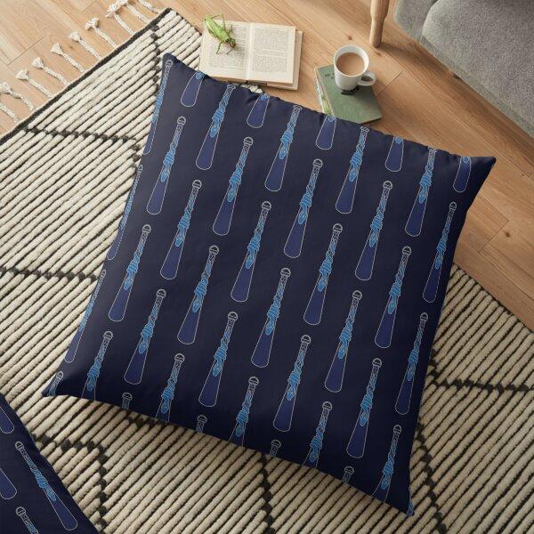 Design de serpent entourant une goutte d'eau - argenté bleu Coussin de sol