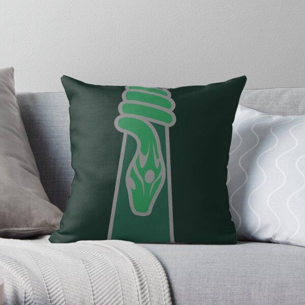 Design de serpent entourant une goutte d'eau - argenté vert Coussin