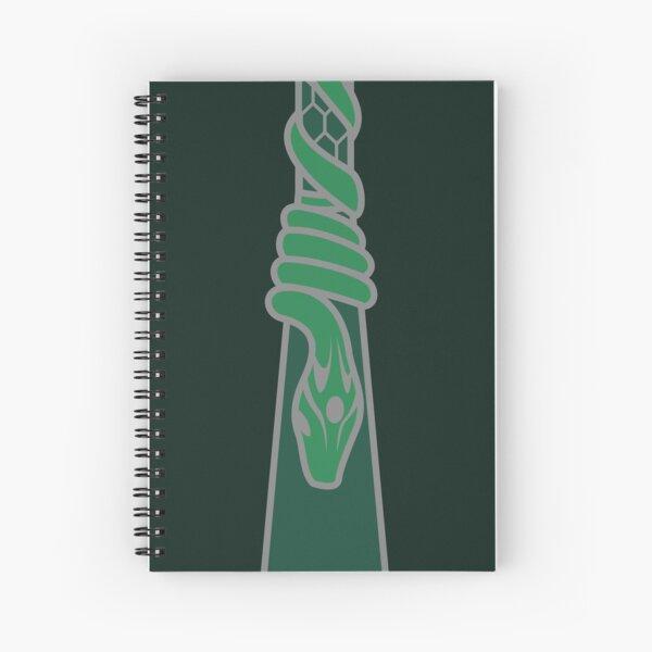 Design de serpent entourant une goutte d'eau - argenté vert Cahier à spirale