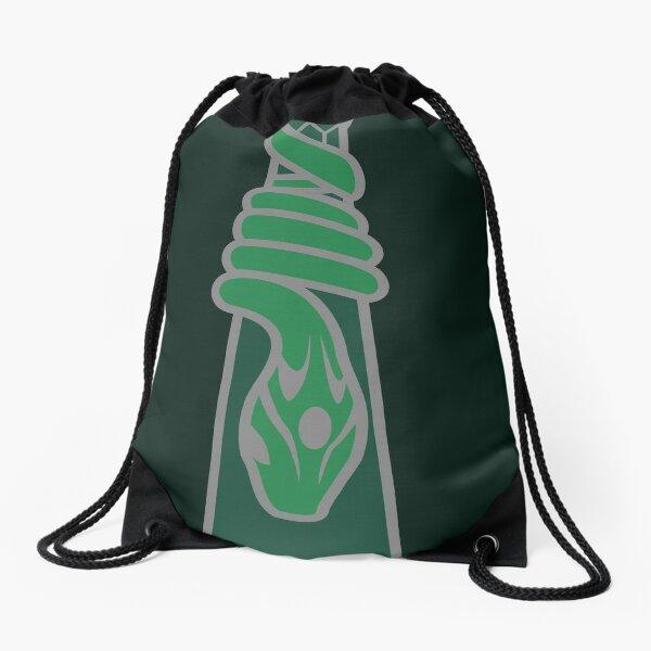 Design de serpent entourant une goutte d'eau - argenté vert Sac à cordon
