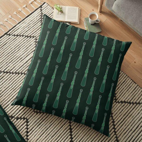 Design de serpent entourant une goutte d'eau - argenté vert Coussin de sol