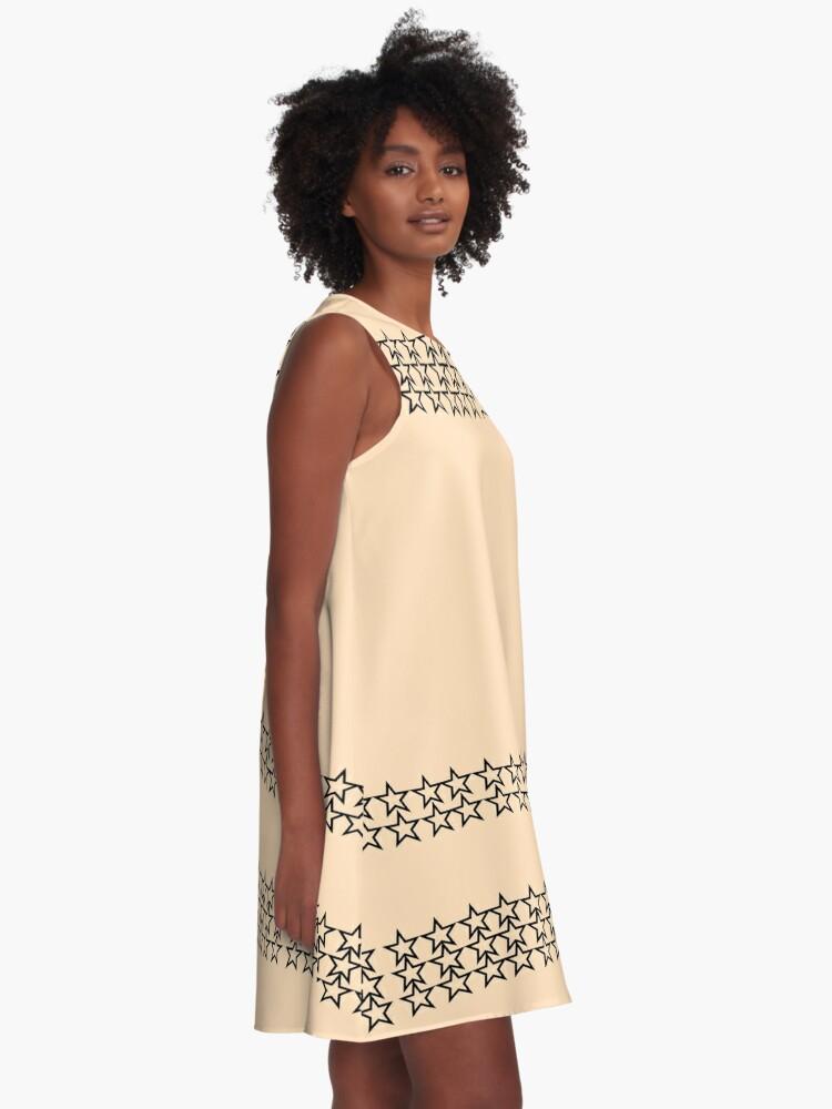 Alternate view of Black Stars peach background A-Line Dress